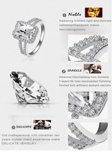 LZESHINE Brand Big Rectangle Cut Princess Ring 18K Gold Platinum Plated Clear AAA Cubic Zircon Ring