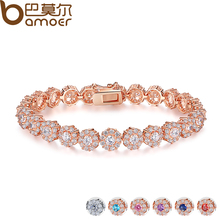Buy BAMOER 7 Colors Rose Gold Color Chain Link Bracelet Women Ladies Shining AAA Cubic Zircon Crystal Jewelry Gift JIB012 for $9.37 in AliExpress store