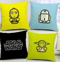 Free shipping Star Wars Yoda Black Knight linen-cotton wedding decorations car sofa cushions office pillow cover