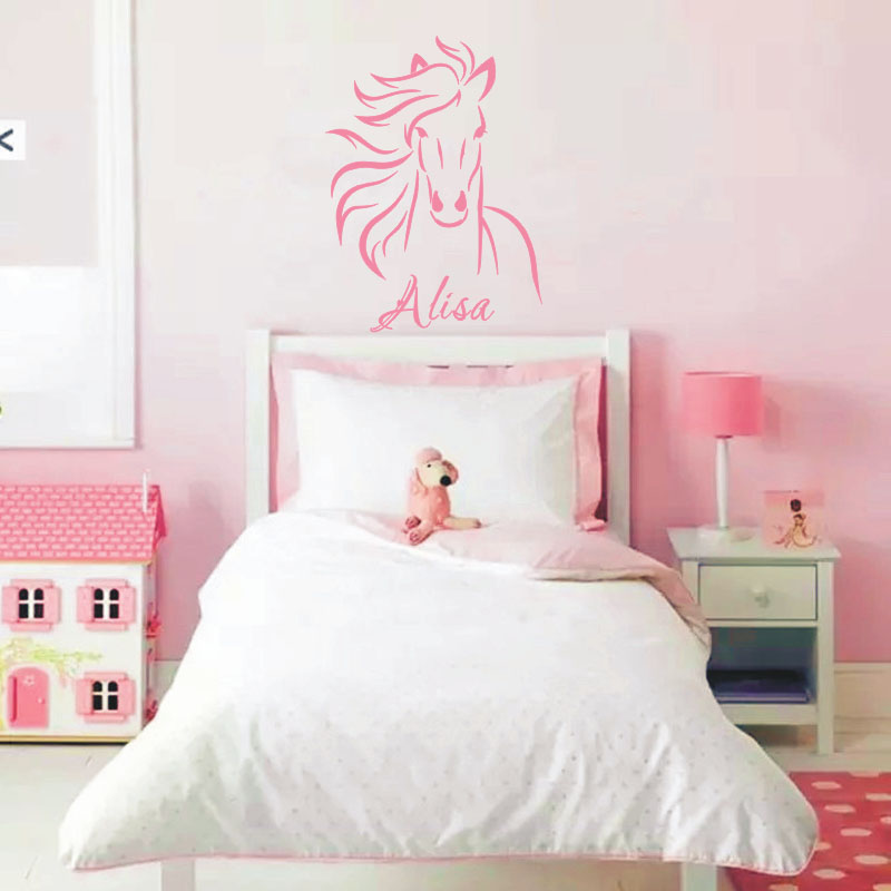2016 custom baby girls name wall sticker horse decal baby - Wall stickers camerette ...