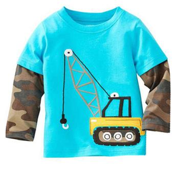 Милый мультфильм ребенка рубашку мальчика и девушки футболки бренда с длинным рукавом ...