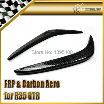 Car Styling For Nissan R35 GTR Carbon Fiber AS Style Front Bumper Canards 2pcs In Stock