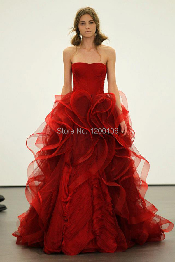 Brautkleid Wine Red Ball Gown Wedding Dresses Made China Ruffles Tiers Sexy Backless Bride Dress 2015