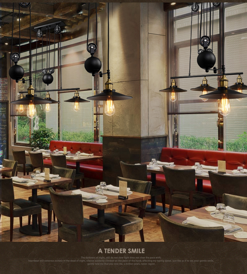 1/2/3 Head Lifting Pulley Industrial Dining Room Pendant Light American Country Vintage Loft Pulley Pendant Lights Free Shipping<br><br>Aliexpress