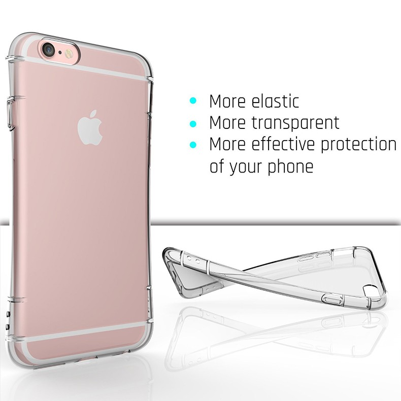 2016 Newly Air Cushion Anti Knock Clear Crystal TPU Soft Rubber Phone Cover Case for Iphone 6 Plus 6S Plus