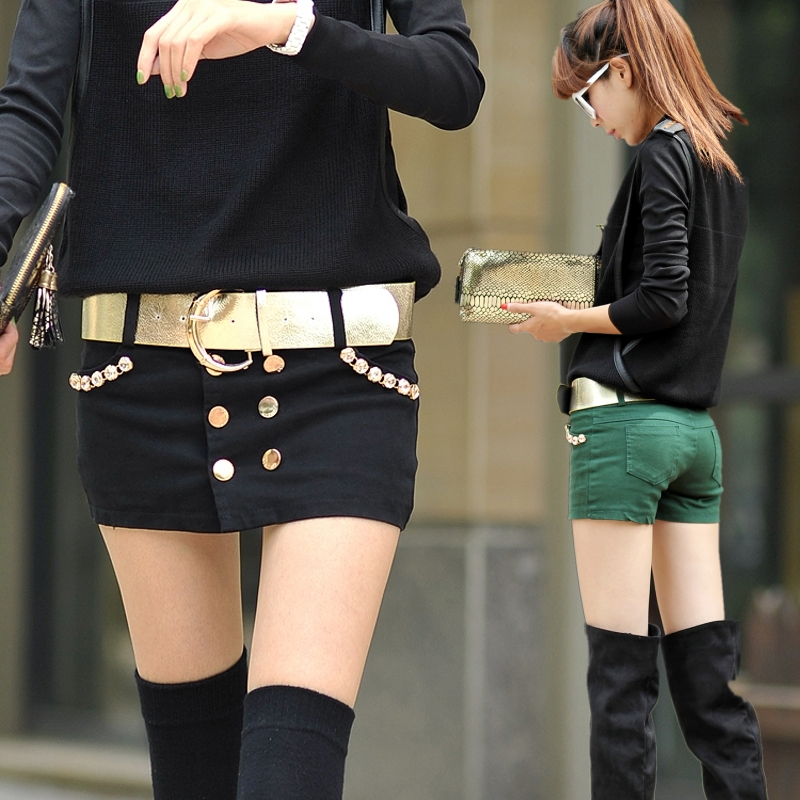 2014 New! fashion girls' mini Jeans women skirts 2014 sex pants shorts with rivet high quality size S to XL LL-4900G(China (Mainland))