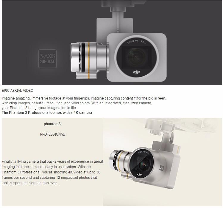 DJI Phantom 3 Advanced/Professional Drone rtf with 1080P 2.7K/4K Full HD camera live HD view/Brushless/GPS system Free shipping