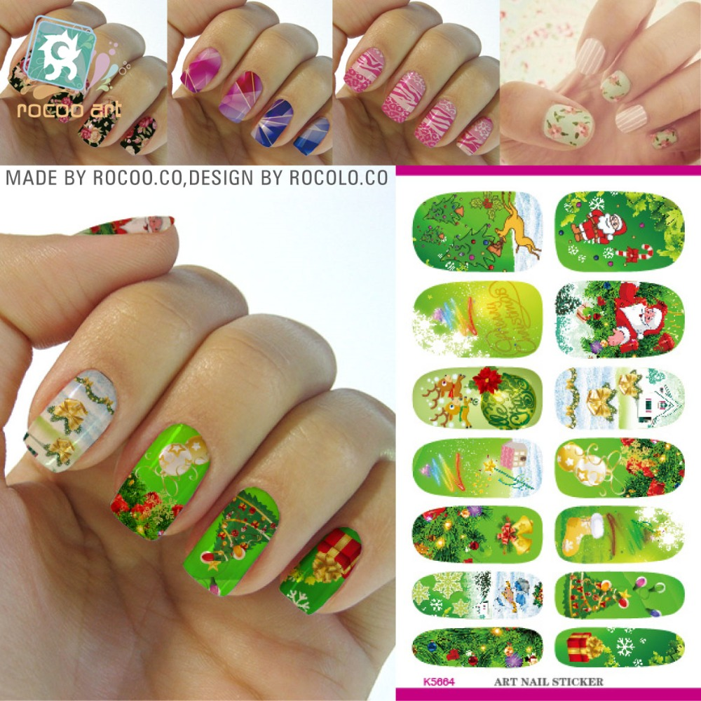 K5664 New Water Transfer Nail Foil Sticker Art Merry Christmas Gift Deer Old Man Green Nail Wraps Sticker Manicure Decor Decals(China (Mainland))