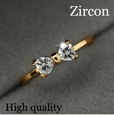 G371 Hot Selling Bijoux Zircon Bow Ring Finger anel de diamante CZ Diamond for Women Wedding Jewelry Accessories Summer(China (Mainland))