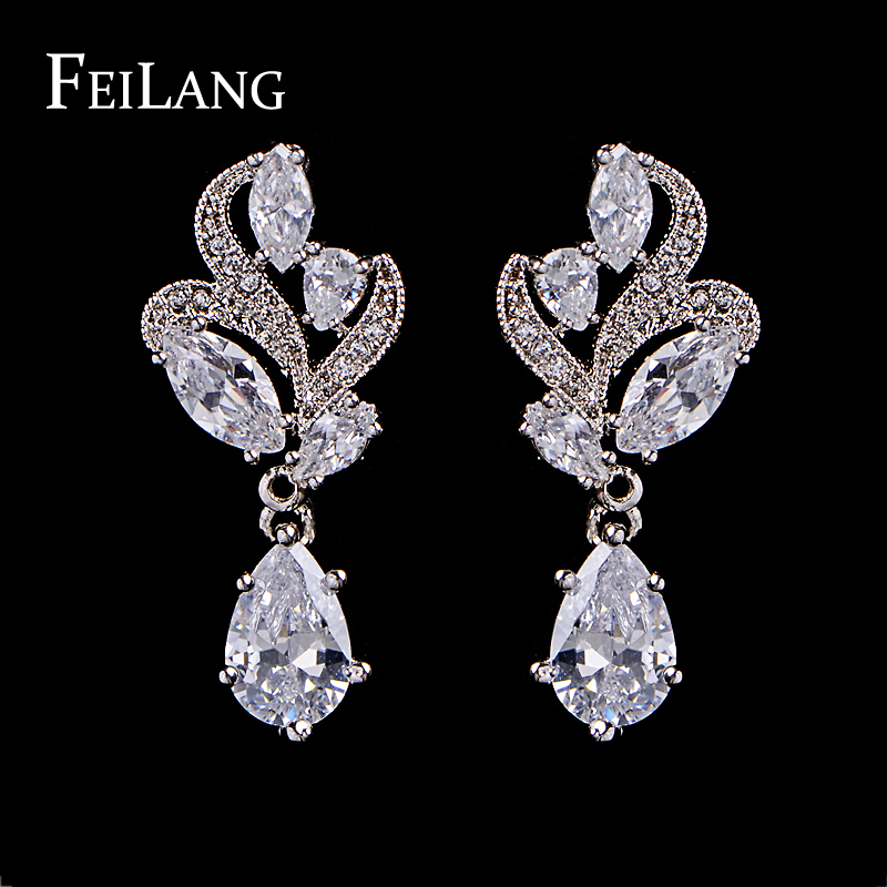 Elegant Fashion Marquise Stone Cluster Flower Drop Pear Shape Cubic Zirconia Diamond Dangle Earring Suit For Wedding (FSEP263)(China (Mainland))