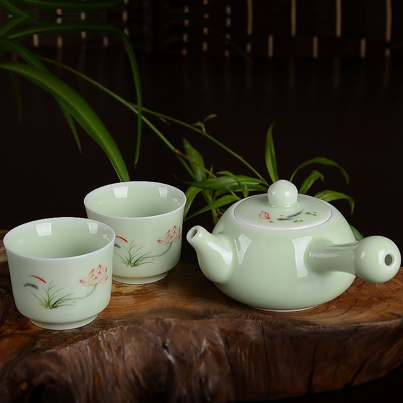 Ceramic 1pot 2cups Kung Fu tea set Porcelain TeaPot Kettle Longquan celadon tea set puer tea