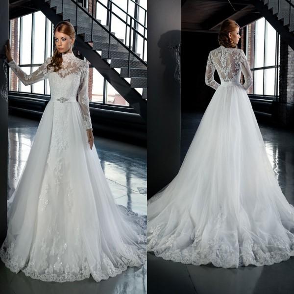 Vestidos De Novia Высокая Шея С Длинным Рукавом Кружева Аппликация Съемная Свадебное Платье