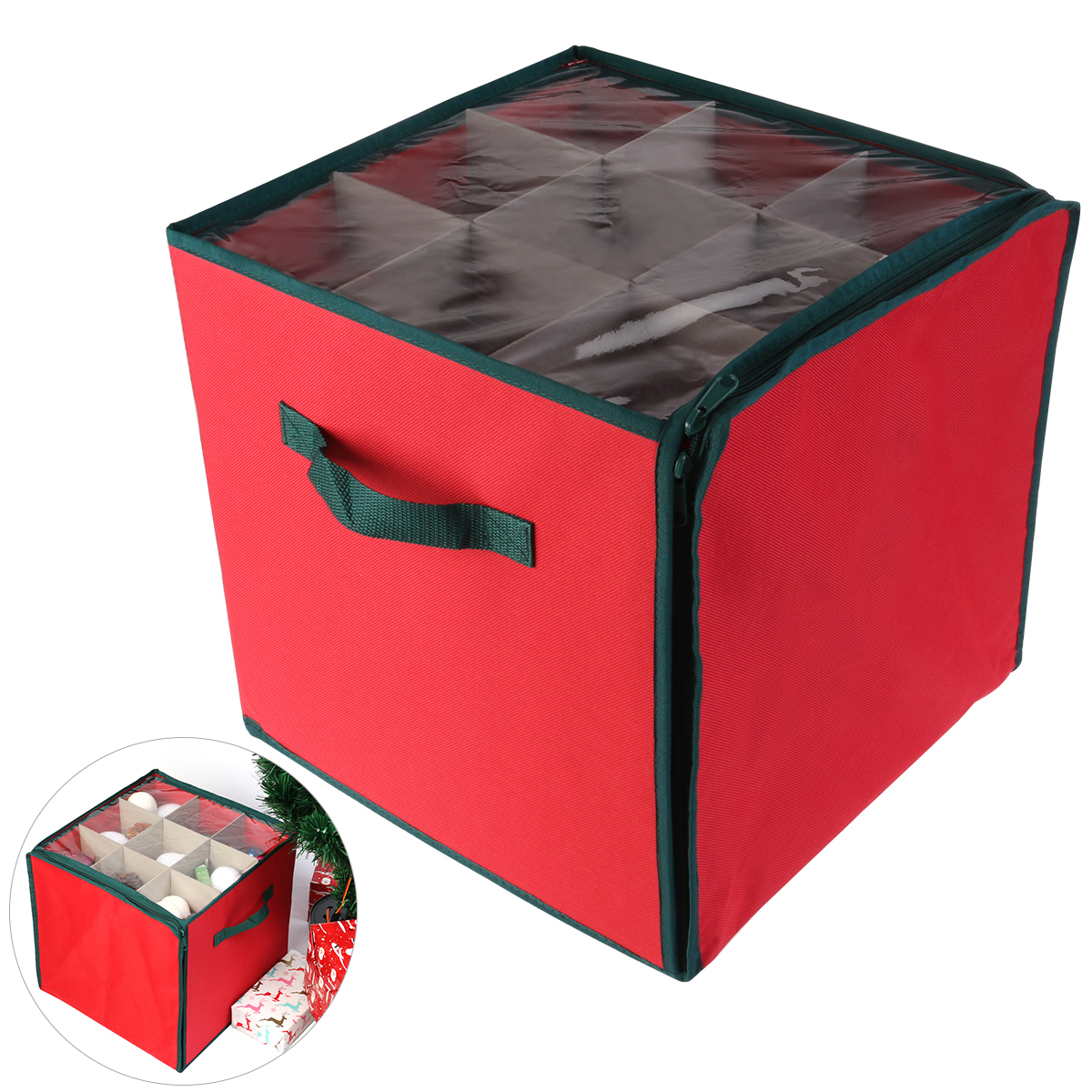 NICEXMAS Holiday Christmas Ornament Storage Chest with 3 Trays Holds Up to 27 Ornaments Balls with Dividers (Red) New Year(China (Mainland))