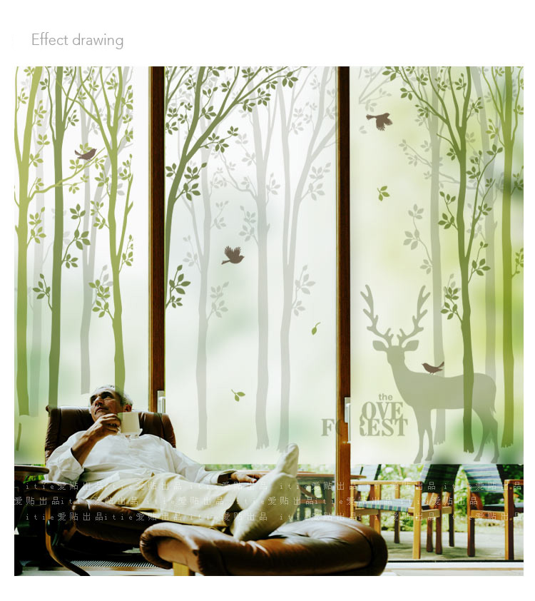 Customized Size Stained Glass Window Film Sliding Door Static Cling Home Decor Countryside Village Style Deer Tree(China (Mainland))