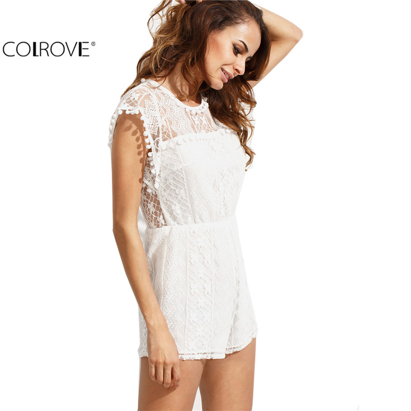 COLROVE 2016 Summer New Style White Pom-pom Trim Cap Sleeve Lace Playsuit Women's Plain Round Neck Sexy Romper(China (Mainland))