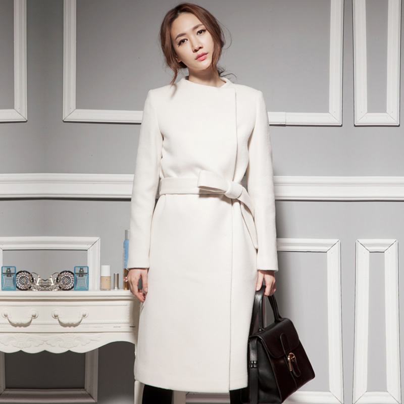 Wandouble New Women Wool Winter Coat Slim Elegant Long Overcoat cashmere solid color o neck waistband XS-6XL Free Shipping Xia Одежда и ак�е��уары<br><br><br>Aliexpress