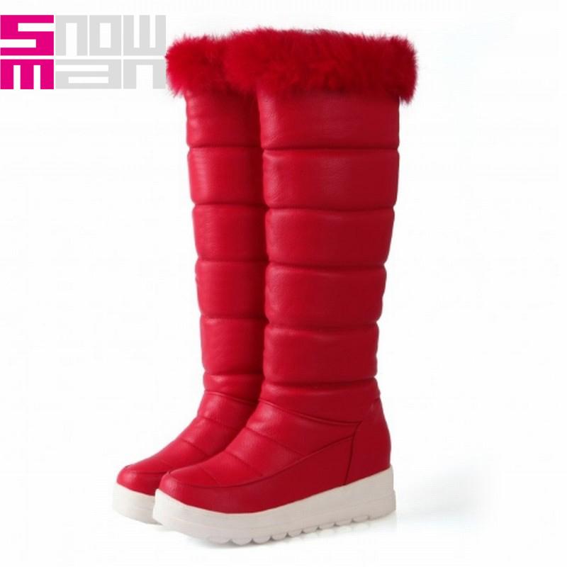2015 Brand Wedges Snow Boots 34-43 Fashion Rabbit Fur Knee High Boots Platform Shoes Warm Winter Boots Women Boots Shoes Woman