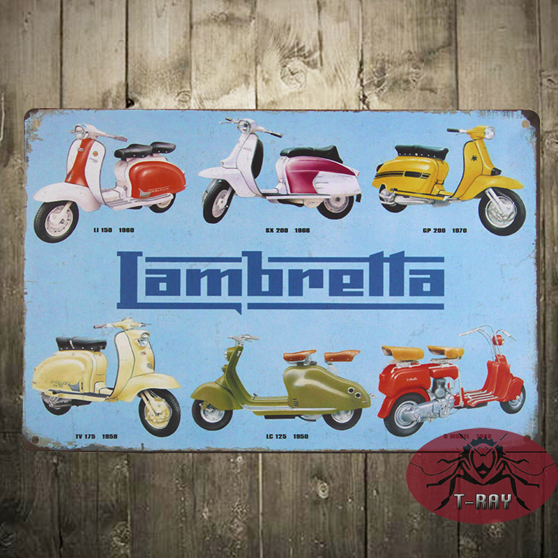 Vintage Metal Tin Advertising Sign - Lambretta <font><b>Italian</b></font> Scooters C-108