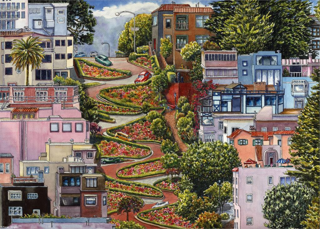 lombard street building san francisco california art Home Decoration Canvas Poster Print(China (Mainland))
