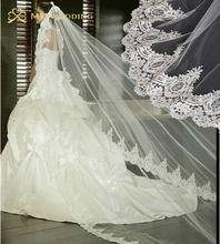 Hot 3 M réel Photos blanc / ivoire cathédrale longueur mantille de dentelle Crochet Bridal Veil coiffe avec peigne accessoires de mariée MD3079(China (Mainland))