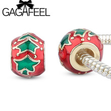 GAGAFEEL 2016 New DIY making Jewelry Green Tree Beads Charm Fit Pandora European Bracelet Necklace Christmas Gifts(China (Mainland))