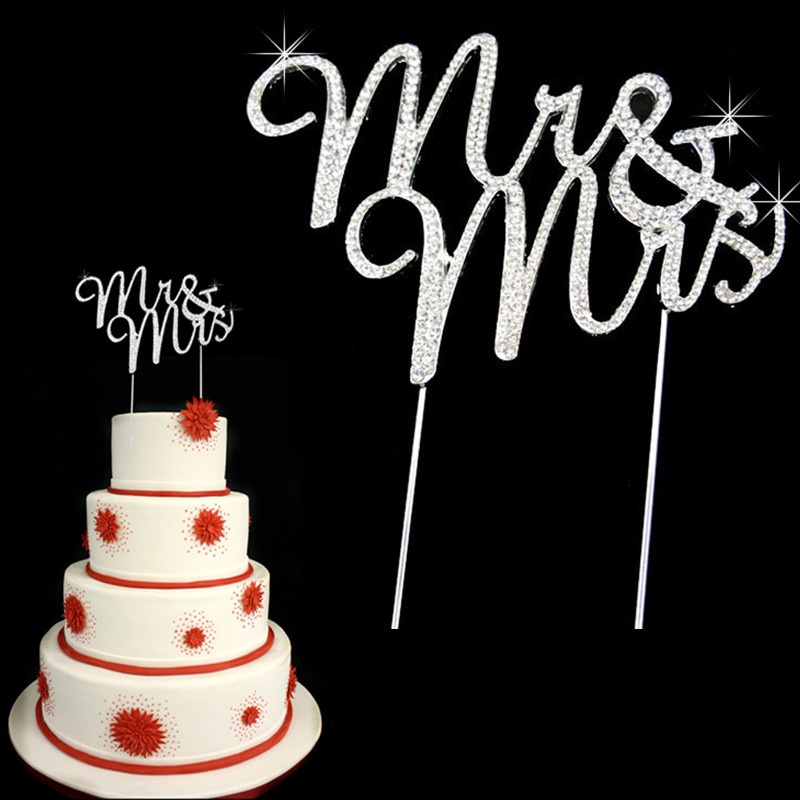 Bling Wedding Monogram Mr &Mrs Rhinestone Cake Topper for Wedding cake decors ,silver plating crystal cake topper(China (Mainland))