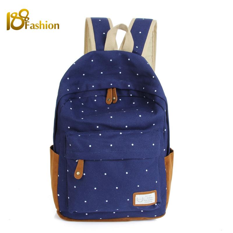 2015 Dot Printing Canvas Women Backpack Travel Bag Fashionable Backpacks for Teenage Girls School Backpack Bags Bolsas Mochila