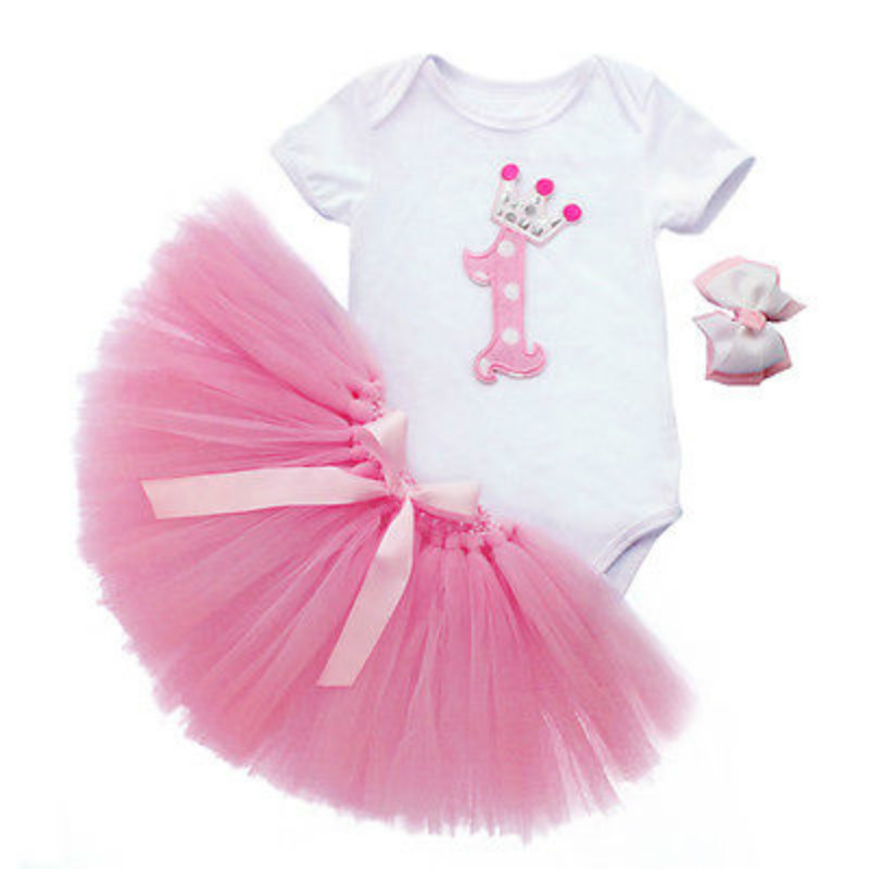 3PCS Clothes Sets Baby Girls 1st Birthday Romper Headband Outfit Party dress(China (Mainland))