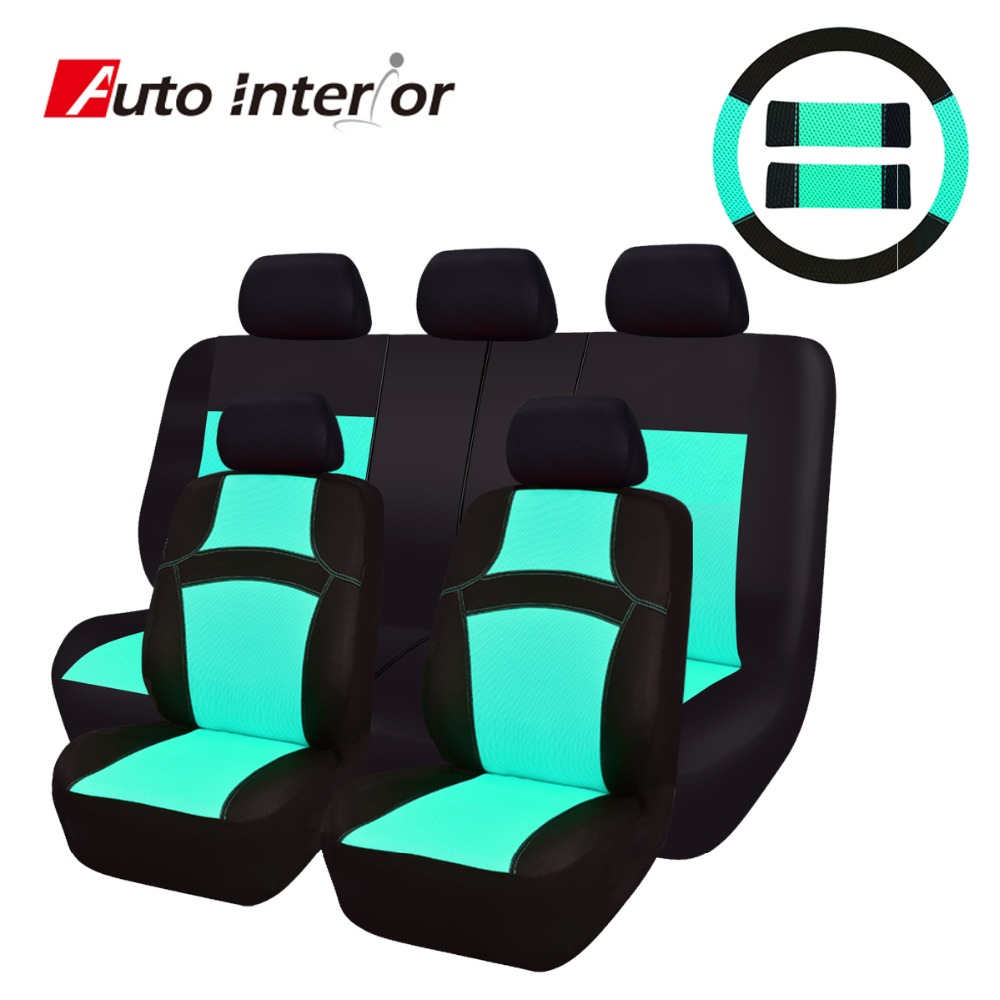 New Arrival RAINBOW Summer Full Set Universal Car Seat Cover Car Styling Car-Covers MInt Green Orange Rose Red Seat Covers kit(China (Mainland))
