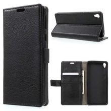 Sony Xperia E5 Leather Cases Litchi Texture Wallet Stand Shell phone cover- Black - Tvc mall online 2 store