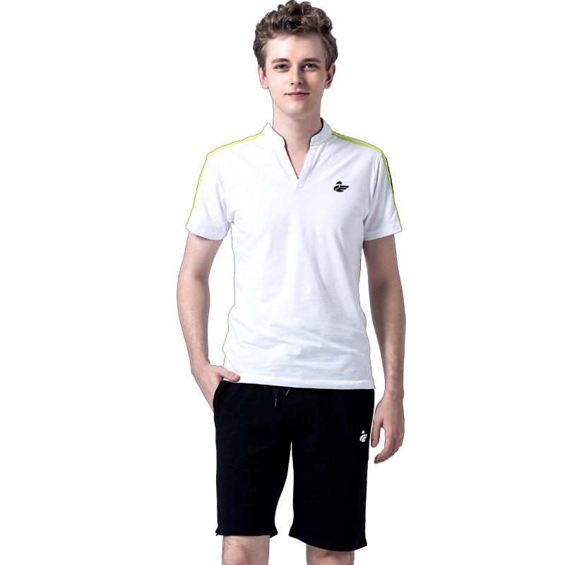 Men Short Sets 2015 Fashion Summer Men's Tracksuit Sportswear Sets Mandarin Collar Tops And Knee Length Shorts Sport Suits(China (Mainland))