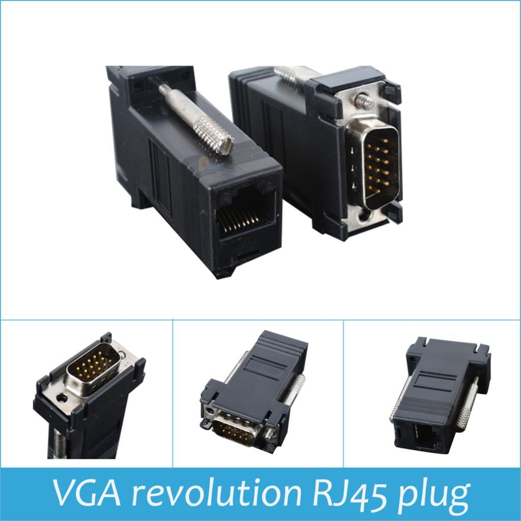 Wholesales connector VGA revolution RJ45 plug VGA switching luo conversion plug the monitor DB15 orbital network adapter(China (Mainland))