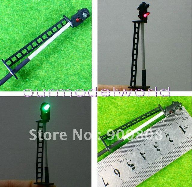 free shipping 10pcs HO N Scale Railroad Signal Green/Red 12V Lamps 5.8cm for train layout