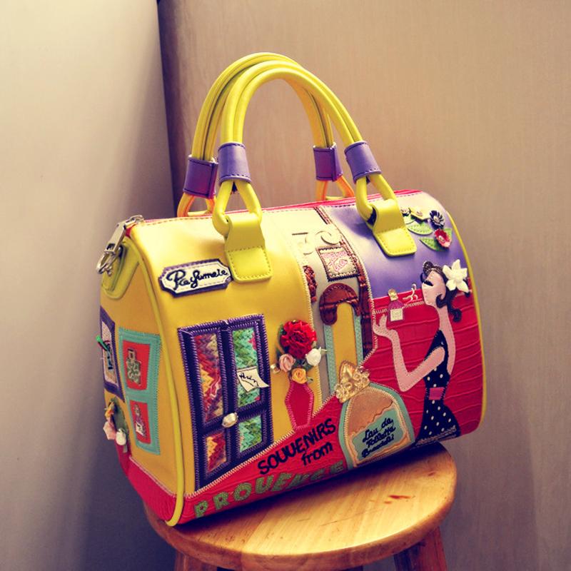 Women Boston Leather Handbags Retro Handmade Floral Embroidery Should Messenger Bags Bolsa Feminina(China (Mainland))