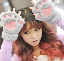 New Arrival 1 Pair New Women Lady Girl Winter Warm Paw Gloves Fingerless Fluffy Bear Cat Plush Paw Glove Mittens(China (Mainland))