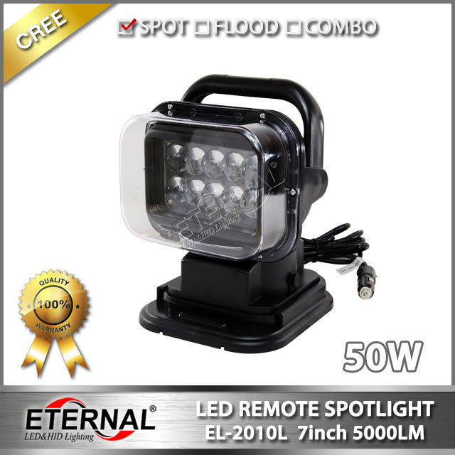 50W wireless remote spotlight truck trailer tractor off road 4x4 wrangler marine boat high power led work light(China (Mainland))