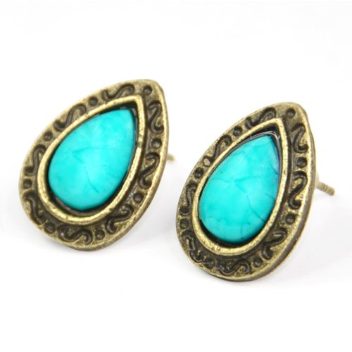 5x HOT Blue Turquoise Vintage Angel Tears Stud Earrings Bronze Tone Art Deco(China (Mainland))