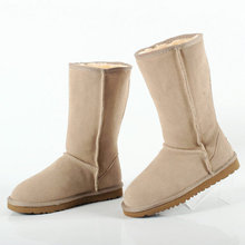 2017 Australia Warm Winter Unisex Snow Boots Mid-Calf boots Size plus size Fashion High Quality Women Genuine Suede Leather boot(China (Mainland))
