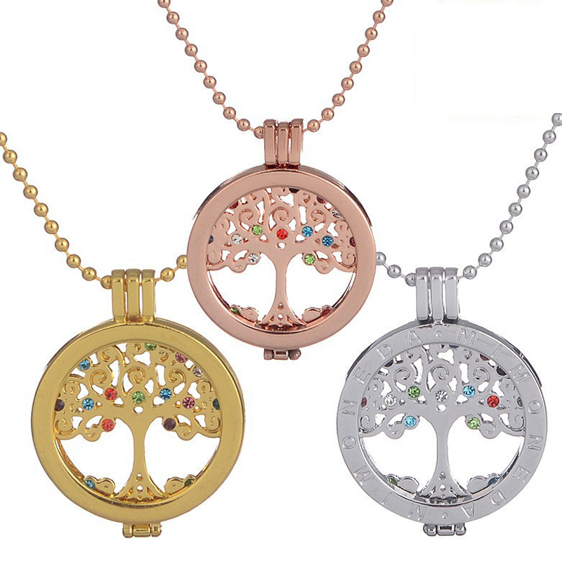 Tree Of Life Necklace Gold&Silver Filled Pendant Necklaces Memory Locket Charms Women Vintage Jewelry(China (Mainland))