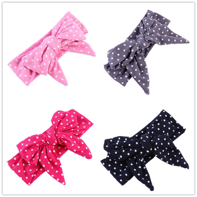 Baby Headwrap Head bow Newborn-toddler top knot turban Infant headband Bandana Dot Girls hair gift Photo Prop 1pc(China (Mainland))