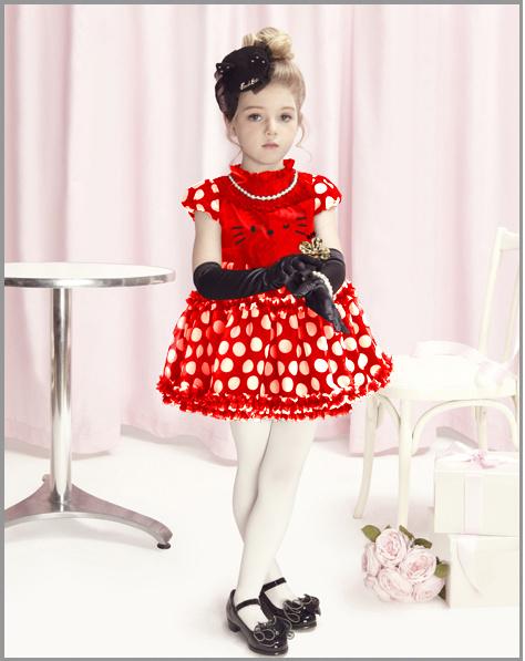 2013 NEW children dress girls Princess dresses chiffon bowknot hello kitty dresse for summer red and pink 4pcs/lot BD053(China (Mainland))