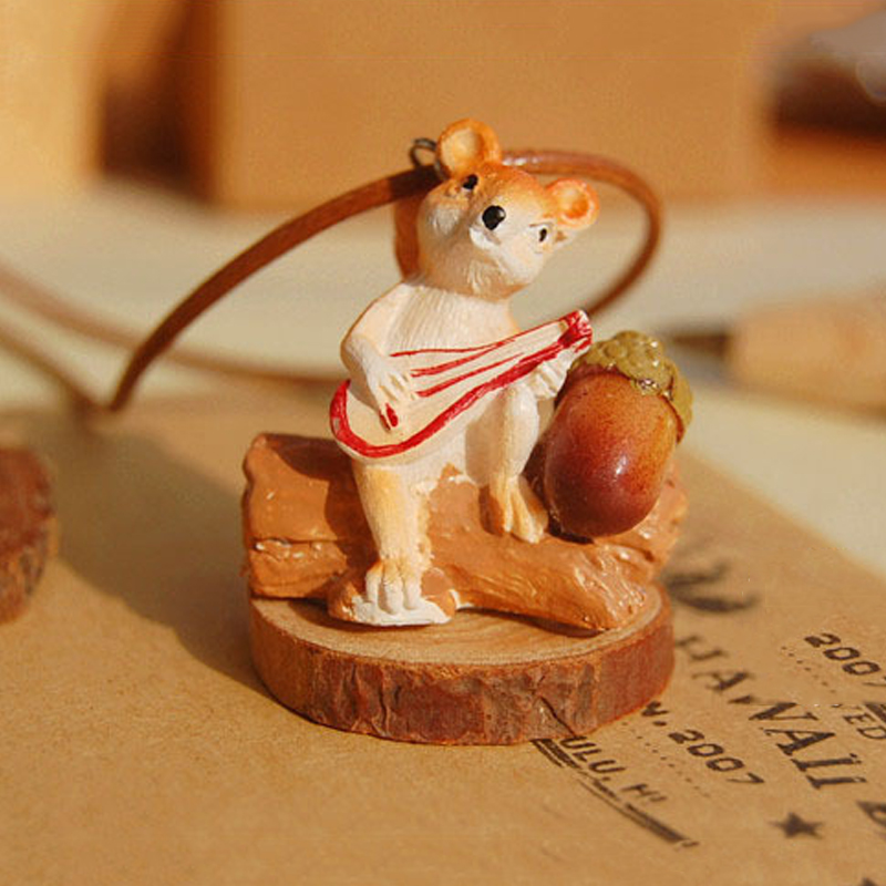 Vintage Lovely Squirrel Acorn Wood Necklace Zakka Retro DIY Handmade Long Sweater Necklaces For Women Good Gift(China (Mainland))