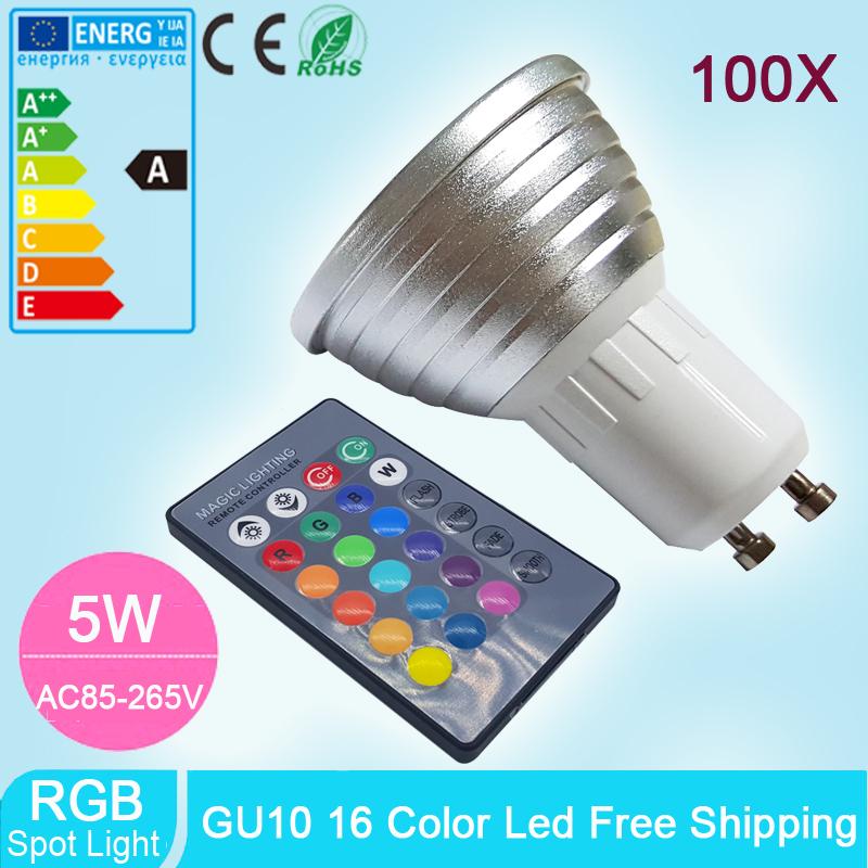 100pcs High Tech LED Lamp 5W RGB LED Spotlight GU10 16 colour Wholesale Spot light + 24key IR remote control(China (Mainland))