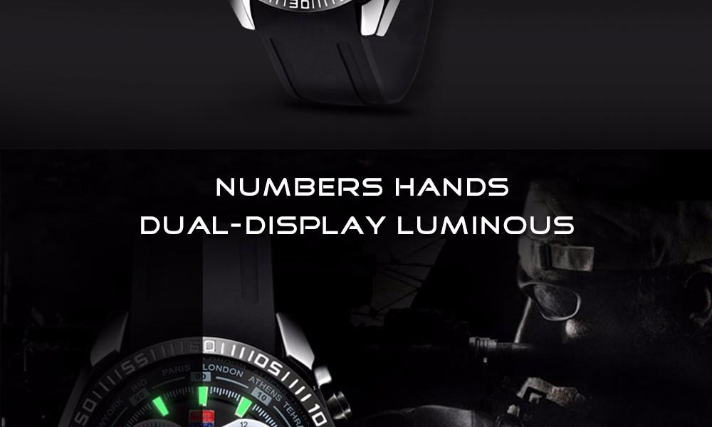 TVG Brand Quartz-watch Fashion Blue LED Dual Display Men Watch Black Silicone Strap Watches Week Display Wristwatch Waterproof