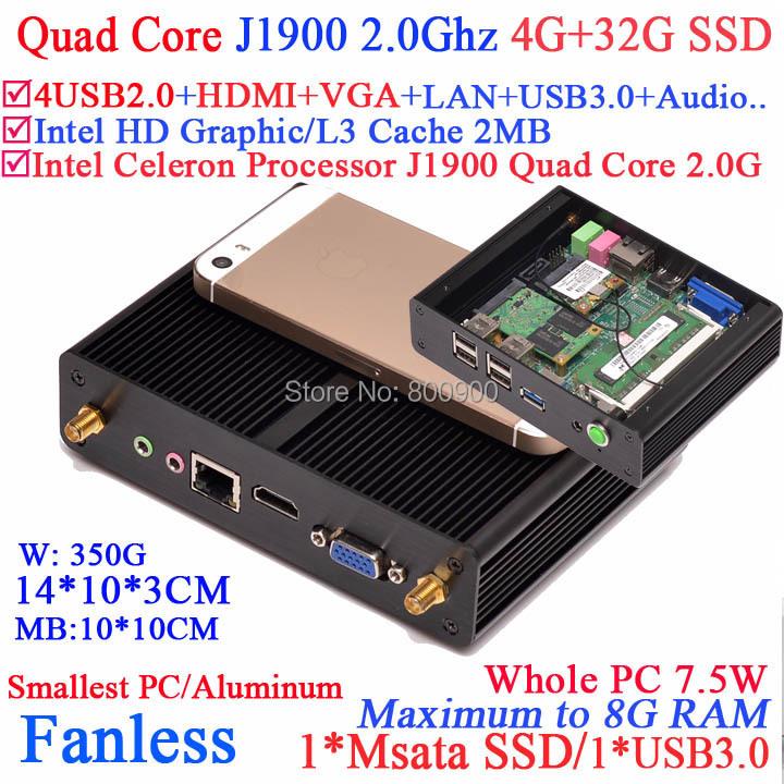 2014 new fanless itx mini pc Quad Core J1900 2.0Ghz with 7.5W Power HDMI VGA smallest pc aluminum 4G RAM 32G SSD windows linux(China (Mainland))
