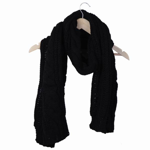 5pcs/lot New Fashion Faux Cashmere Women Scarf Winter Warm Knitted Girls Black Wraps DRK1 Wholesale Free Shipping(China (Mainland))