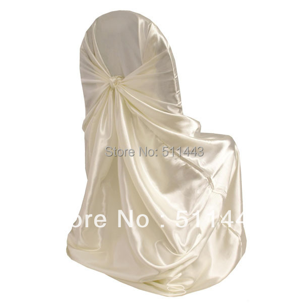 Free Shipping--100pcs Ivory Self-tie Universal Satin Chair Cover For Home Banquet Wedding Decoration(China (Mainland))