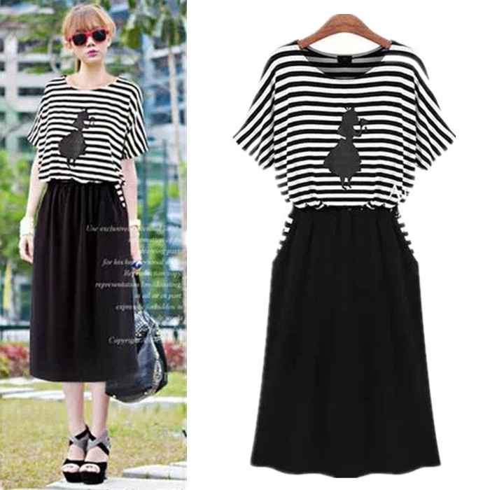 2014 spring summer fashion casual modal stripe short-sleeve plus size one-piece dress full female - jim yue's store