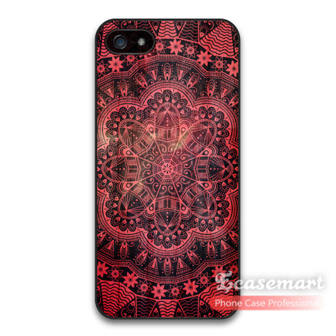 Red Floral Mandala Case For iPhone 5c 5 5s Best Quality Phone Cover For 6 6 Plus iPod 5 Wholesale Store(China (Mainland))
