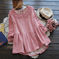 Forest Mori Girl 2016 Summer Women s Peter Pan Collar Lace Emboridery long sleeved Solid Color